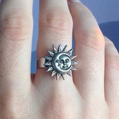 jewels,ring,sun,moon,face,jewelry,vintage,indie,silver,boho,grunge,moon and sun,tumblr,cute,sunshine,fashion,hippie,gypsy,nail accessories,accessories,moon amd sun