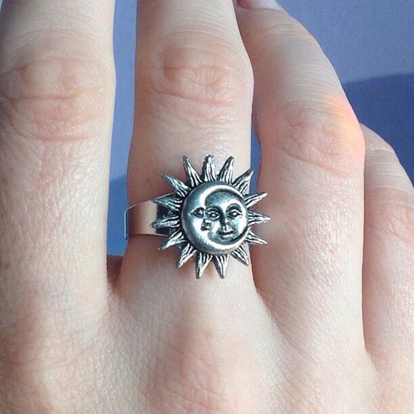 jewels ring sun sunshine ring, sun, moon, face moon vintage indie silver boho grunge ring sun and moon tumblr cute fashion hippie gypsy