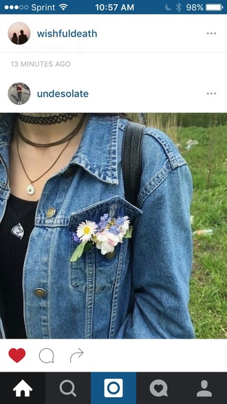 jewels denim jacket flower necklace flower choker