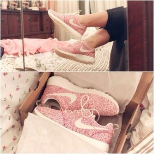 shoes nike flowers sneakers