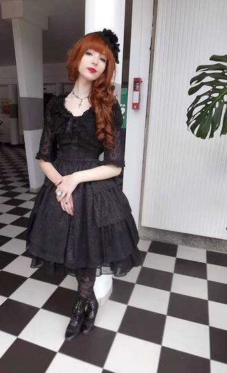dress gothic lolita gothic dress black dress victorian goth lace elegant
