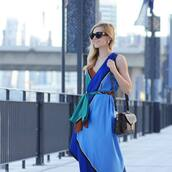 dress,tumblr,blue dress,sleeveless,sleeveless dress,v neck,v neck dress,wrap dress,sunglasses,bag