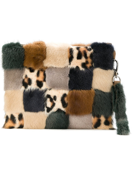 Liska patchwork fur women bag clutch silk