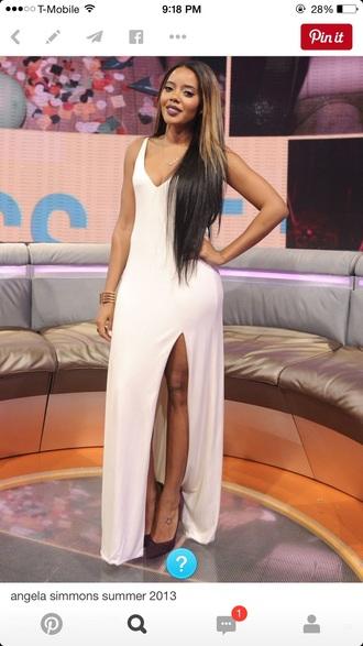dress cream dress white dress long dress prom dress elegant dress slit dress