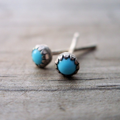 3mm Turquoise Stud Earrings  Tiny Bud Turquoise by brightsmith