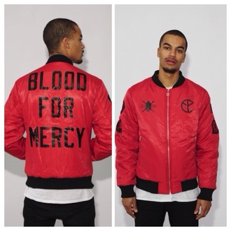 jacket daily paper yellow claw blood for mercy red red jacket streetwear black streetstyle fashion music menswear