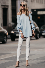 fashionjackson,blogger,top,jeans,shoes,bag,sunglasses,jewels,blue top,white jeans,pumps,high heel pumps,spring outfits,off the shoulder,louboutin,gucci bag,karen walker,larsson and jennings,streetwear
