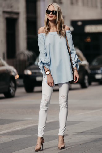 fashionjackson blogger top jeans shoes bag sunglasses jewels blue top white jeans pumps high heel pumps spring outfits off the shoulder louboutin gucci bag karen walker larsson and jennings streetwear