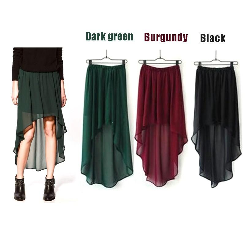 Sexy women chiffon skirt pleated asym hem long maxi dress elastic waist