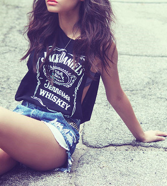 t-shirt girly punk rock fall outfits girl tank top jack daniel's shirt blouse whiskey shirt black top swagg t shirt wow swag black shorts bag whiskey skirt muscle tee black and white white jack daniels shirt top cool singlet summer summer outfits cute tumblr outfit black jack daniels sunglasses