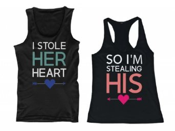 Amazon.com: 365 In Love I Stole Her Heart, So I'm Stealing His Couple Matching Tank Tops: Clothing