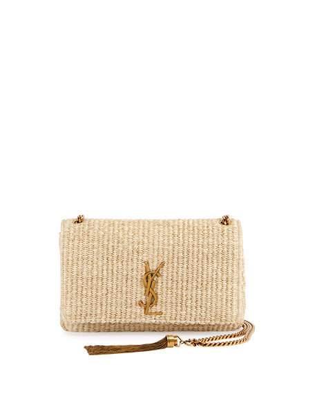 16bc479929de Saint Laurent Kate Monogram Medium Raffia Chain Shoulder Bag, Neutral