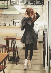 dress,hooded,coat,gothic lolita,goth,kawaii,cute,pastel,pastel goth,sweater dress,leggings,lolita