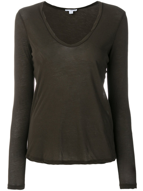 James Perse - v-neck jersey shirt - women - Cotton - 2, Green, Cotton