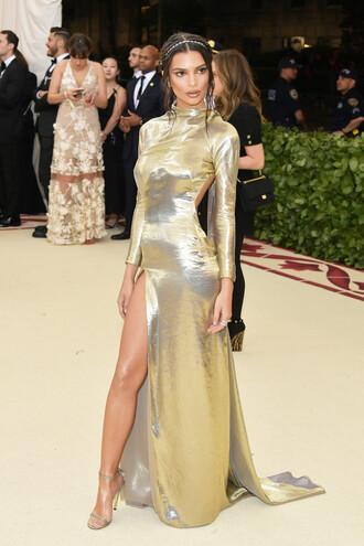 shoes sandals gold gold dress emily ratajkowski model off-duty slit dress backless dress gown met gala met gala 2018 long dress