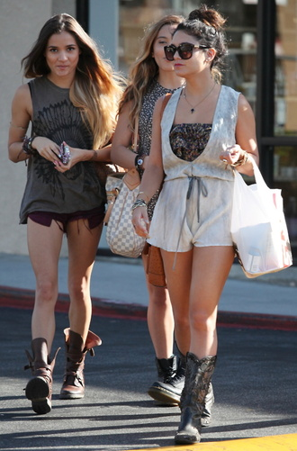 shoes vanessa hudgens vanessa hudgens boots shorts roper girl friendship cute sister ombre top knot tank top celebrity stella hudgens pia mia perez cowboy boots cowgirl boots shopping shirt dress jumpsuit romper