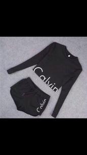 calvin klein,shorts,sweater,cropped sweater,set,matching set,calvin klein underwear,sportswear,black shorts,black sweater,pants,top,calvin