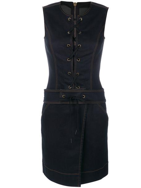 Tomas Maier dress sleeveless dress sleeveless women spandex lace cotton blue