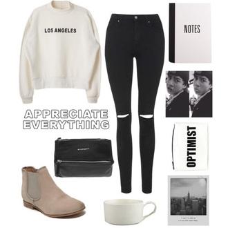 shoes beige boots black jeans white sweater black bag