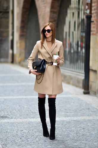vogue haus blogger coat shoes bag belt sunglasses jewels gucci beige coat thigh high boots chanel chanel bag gucci belt