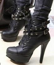 shoes,black,black boots,high heels,rock,metal,boots,lace up ankle boots,lace up heels,lace up