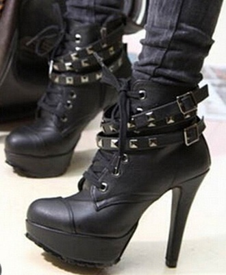 shoes black black boots high heels rock metal boots lace up ankle boots lace up heels lace up