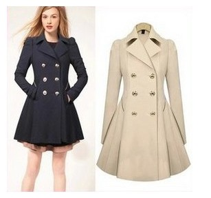 Autumn and spring wool coat 2014 women's slim medium-long blend wool collar double breasted coat outerwear free shipping WT4073   Amazing Shoes UK