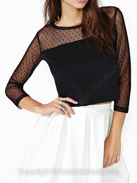 Black Round Neck Three Quarter Length Sleeve Polka Dot Crop T-Shirt - HandpickLook.com