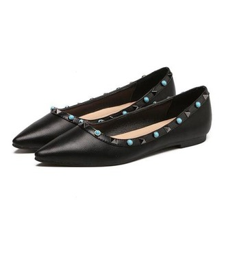 shoes girl girly girly wishlist flats flat sandals black studded shoes ballet flats