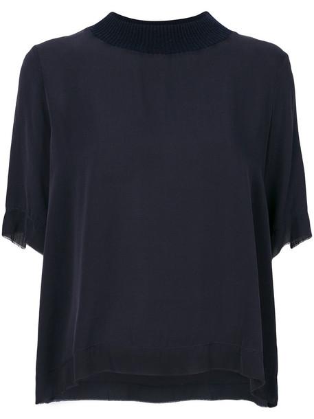 Kristensen Du Nord top women spandex blue silk wool
