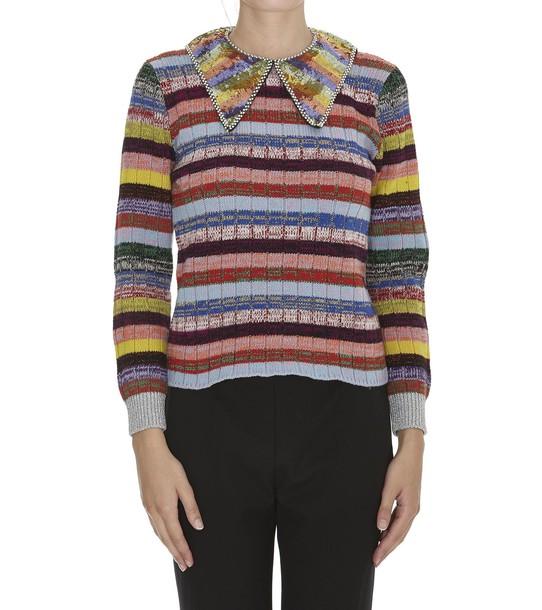 gucci jumper bow rose silver multicolor sweater