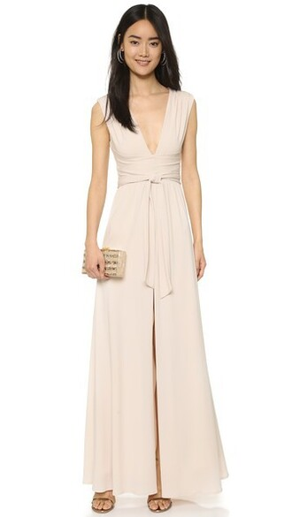 gown v neck dress