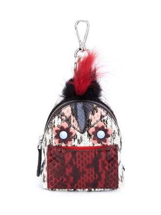 bag charm snake fur fox women snake skin bag backpack black