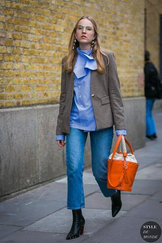jacket tumblr streetstyle blazer grey blazer gingham shirt blue shirt bag orange bag boots black boots ankle boots denim jeans blue jeans cropped jeans styledumonde blogger