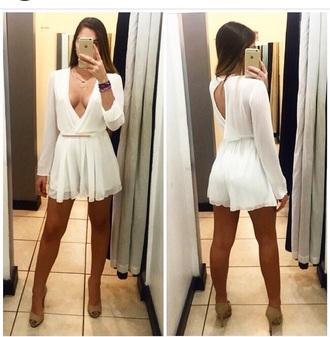 romper white miami style sexy dress