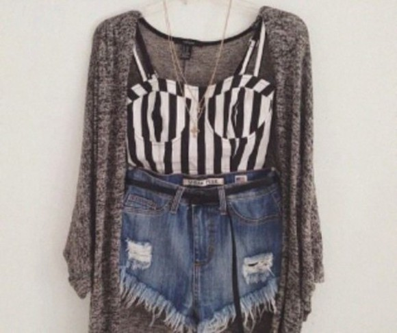 corset top grey cardigan grey cardigan High waisted shorts stripes jeans