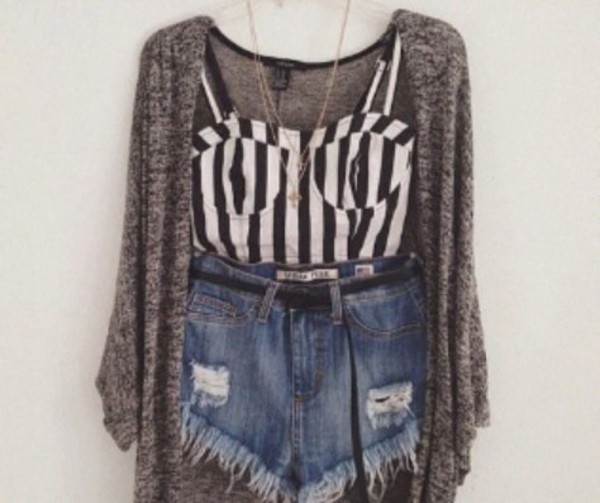cardigan grey grey cardigan High waisted shorts stripes corset top jeans