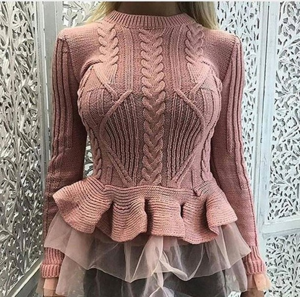 sweater pink rose lace girly cute pretty ruffle hem peplum pinl sweater pale pink ruffle sweater