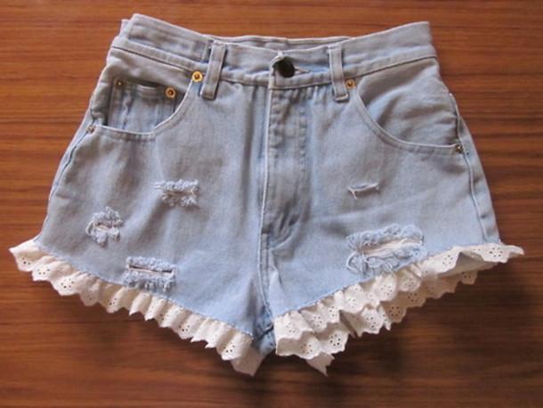 shorts denim shorts high waisted ruffle