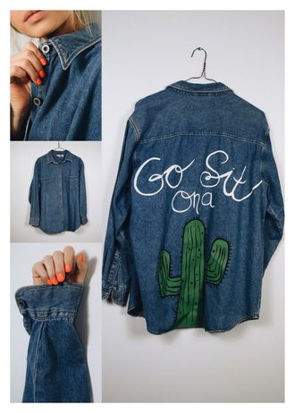 jacket denim denim jacket denim shirt tumblr tumblr outfit tumblr girl tumblr clothes tumblr shirt tumblr fashion style scrapbook back to school jeans cactus plant blue