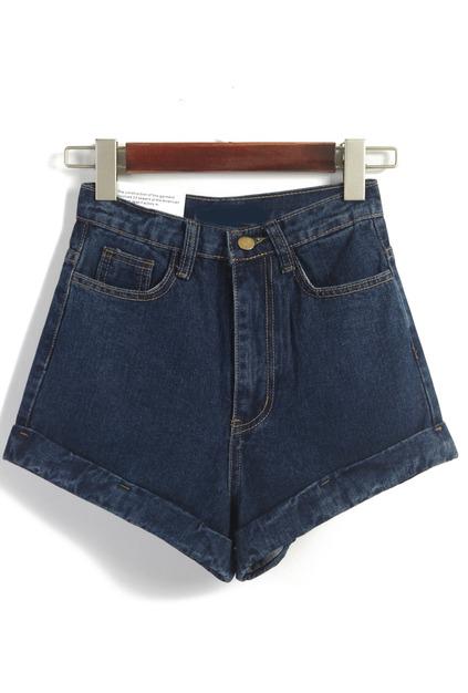 Waist Loose Denim Navy Shorts