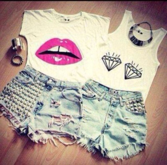 silver t-shirt studs crop tops jewels ripped jeans necklace top high waisted High waisted shorts black and white classy hot summer outfits diamonds band t-shirt white t-shirt white crop tops denim shorts denim skinny pants style streetwear streetstyle