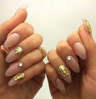 nail accessories gold pot leaf nails