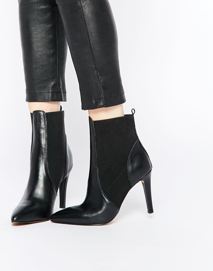 2f4d6e6bafa Selected Femme Kelly Black Leather Point Ankle Boots at asos.com