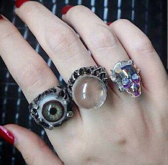 jewels eyes eyes ring skull skull ring creepy goth