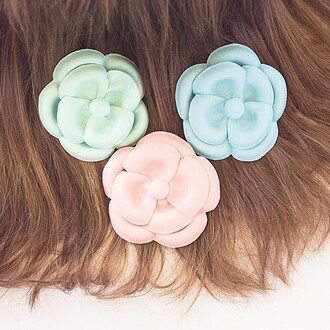 hair accessory the shopping bag flowers flower hair accessory mint white pink blue leather leather hair accessory flowers in your hair light pink light blue green