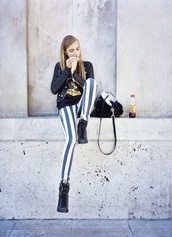 jeans,stripes,blue stripes,blue and white stripes,leather jacket,jacket,shoes,shirt