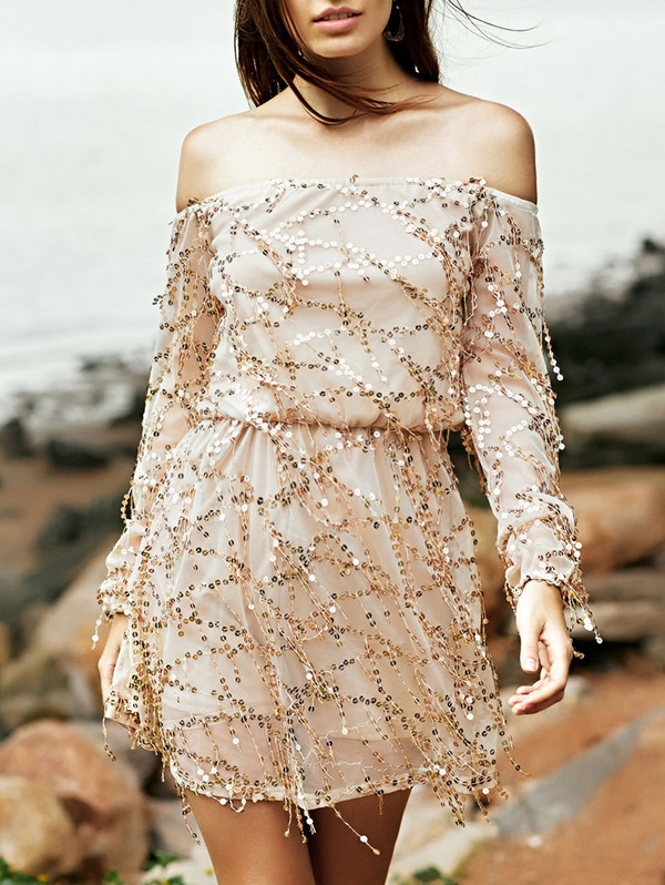 dress fashion trendy style glitter party dress long sleeves off the shoulder sequins zaful