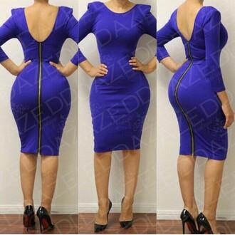 dress zipper dress back zipper three-quarter sleeves padded shoulders scoop back dress