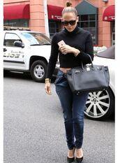 jeans,top,pants,jennifer lopez,pumps,cropped,turtleneck